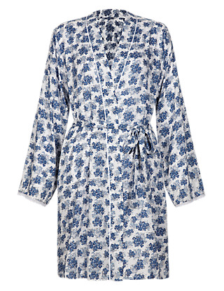 Pure Modal Floral Wrap Dressing Gown Clothing
