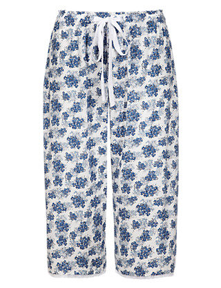 Pure Modal Floral Cropped Pyjama Bottoms Clothing