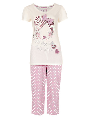 Girl with A Bow Cropped Pyjama Clothing