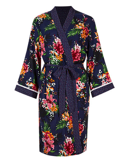 Tropical Print Belted Wrap - short dressing gown