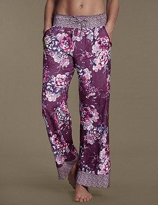 Floral Palazzo Pyjama Bottoms, PURPLE, catlanding