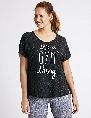 PLUS Slogan Short Sleeve T-Shirt, BLACK MIX, catlanding