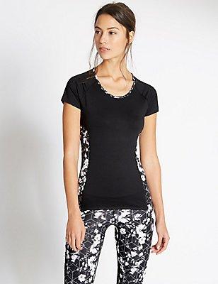 Short Sleeve Floral Print T-Shirt, BLACK MIX, catlanding