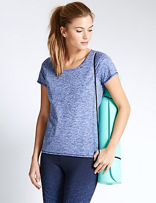 Performance Marl Tee Shirt, DARK BLUE, catlanding