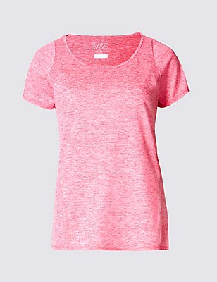 Performance Marl Tee Shirt, HOT PINK, catlanding