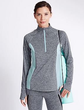 Performance Marl Running Top, GREY MARL, catlanding