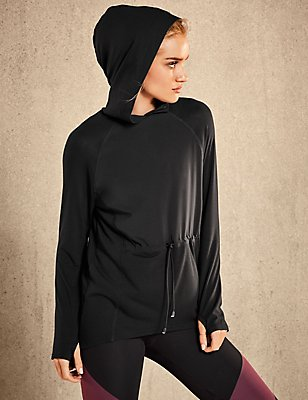Active Draped Hoody, BLACK, catlanding