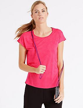Kurzärmeliges T-Shirt mit Blattmuster, ROSA, catlanding