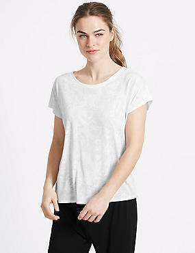 Leaf Print Short Sleeve T-Shirt, WHITE, catlanding