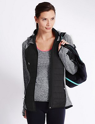 Padded Running Jacket, BLACK/GREY, catlanding