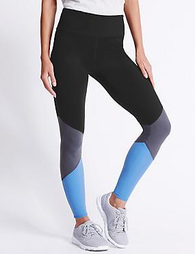 Leggings ultra-doux à motif color block, NOIR ASSORTI, catlanding