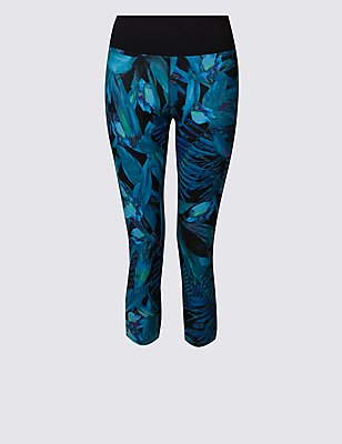 Tropical Print Cropped Leggings, TEAL MIX, catlanding