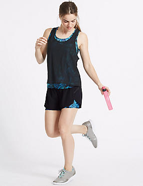 Printed Sports Shorts, TEAL MIX, catlanding