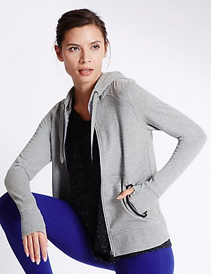 Sporty Hooded Sweatshirt, GREY MARL, catlanding