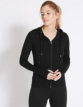 Sporty Hooded Sweatshirt, BLACK, catlanding