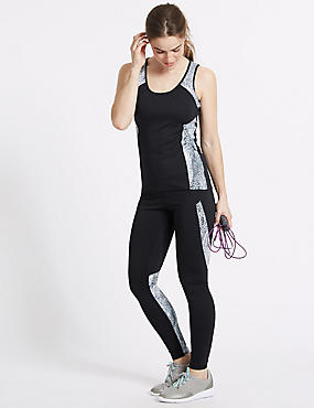 Printed High Waist Leggings with Cool Comfort™ Technology, BLACK MIX, catlanding