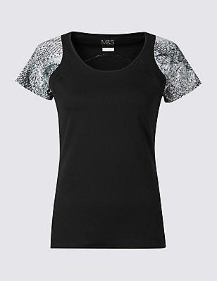 Printed Short Sleeve Vest, BLACK MIX, catlanding