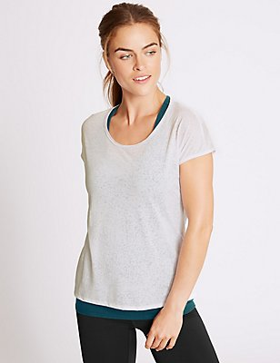 Burnout Double Layer Sports Top, DARK TURQUOISE, catlanding