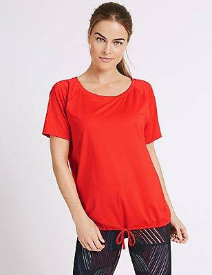 Tie Front Short Sleeve T-Shirt, FLAME, catlanding