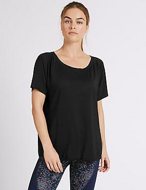 Tie Front Short Sleeve T-Shirt, BLACK, catlanding