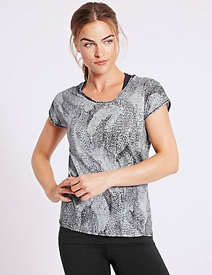 Printed Double Layer Top, BLACK MIX, catlanding