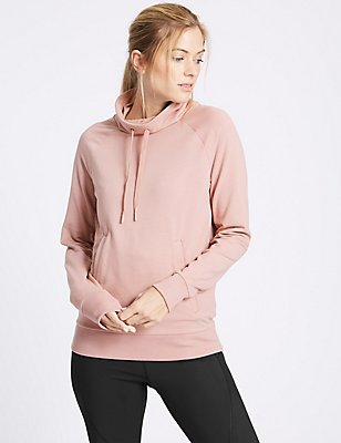 Cotton Rich Funnel Neck Hooded Top, SOFT BRONZE, catlanding