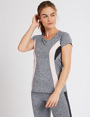 Colour Block Short Sleeve T-Shirt, GREY MIX, catlanding