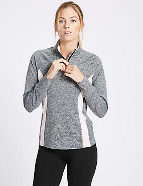 Colour Block Long Sleeve Top, GREY MIX, catlanding