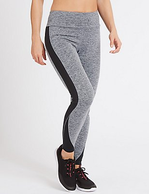 Quick Dry Colour Block Leggings, GREY MIX, catlanding