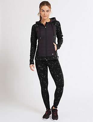 Reflective Print Leggings, BLACK, catlanding