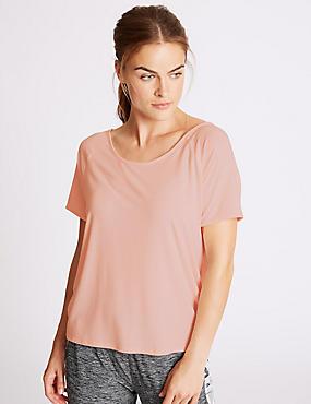 Modal Blend Short Sleeve T-Shirt, LIGHT ROSE, catlanding