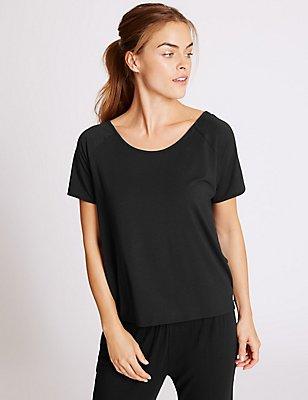 Kurzarm-T-Shirt aus Modalmischgewebe, SCHWARZ, catlanding