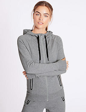 Cotton Rich Hooded Top , GREY MARL, catlanding