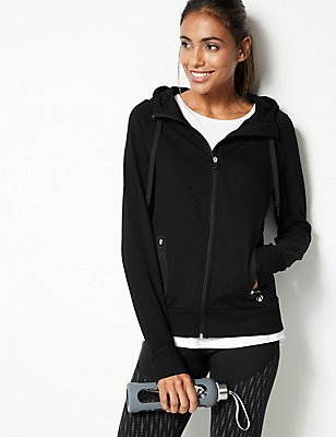 Cotton Rich Hooded Top , BLACK, catlanding