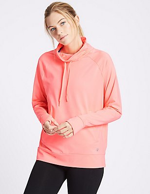 Funnel Neck Long Sleeve Top, VERY PINK, catlanding