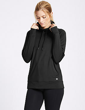 Funnel Neck Long Sleeve Top, BLACK, catlanding