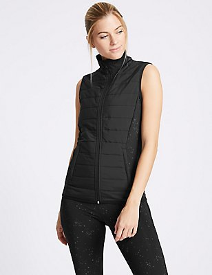 Reflective Print Padded Gilet, BLACK MIX, catlanding