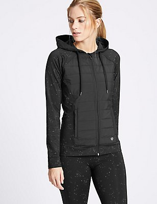 Reflective Print Padded Hooded Top, BLACK MIX, catlanding
