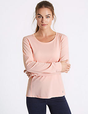 Quick Dry Dipped Hem Top, LIGHT ROSE, catlanding