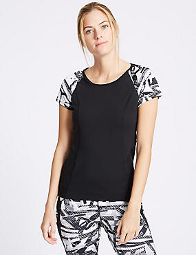 Printed Short Sleeve Top with Cool Comfort™ Technology, BLACK MIX, catlanding