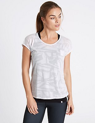 Printed Double Layer Sports T-Shirt, BLACK MIX, catlanding