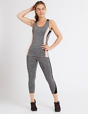 Cropped Colour Block Leggings, GREY MIX, catlanding