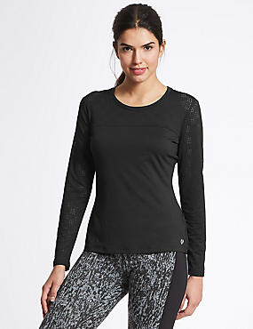 Punch Hole Long Sleeve T-Shirt, BLACK, catlanding