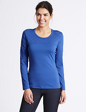 Punch Hole Long Sleeve T-Shirt, IRIS, catlanding