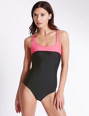 Secret Slimming™ Top Panel Padded Swimsuit, PINK MIX, catlanding