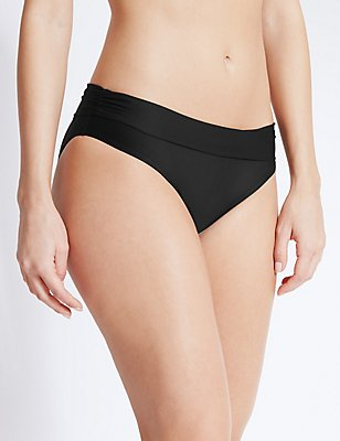 Roll Top Hipster Bikini Bottoms, BLACK, catlanding