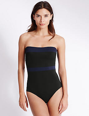 Maillot de bain bandeau, doté de la technologie Swimsculpt™, NOIR, catlanding
