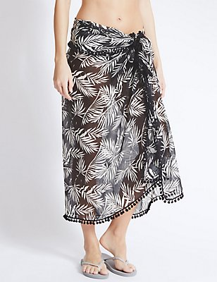 Palm Tree Print Sarong, BLACK MIX, catlanding