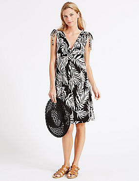 Palm Leaf Print Vest Dress, BLACK MIX, catlanding