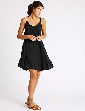 Woven Vest Dress, BLACK, catlanding